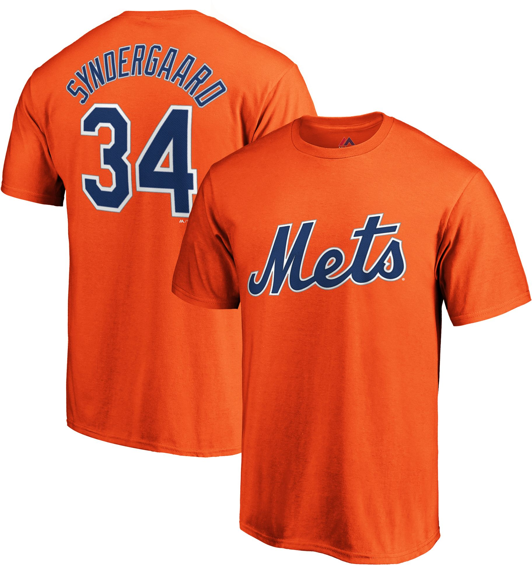 Majestic Men's New York Mets Noah Syndergaard #34 Orange T-Shirt