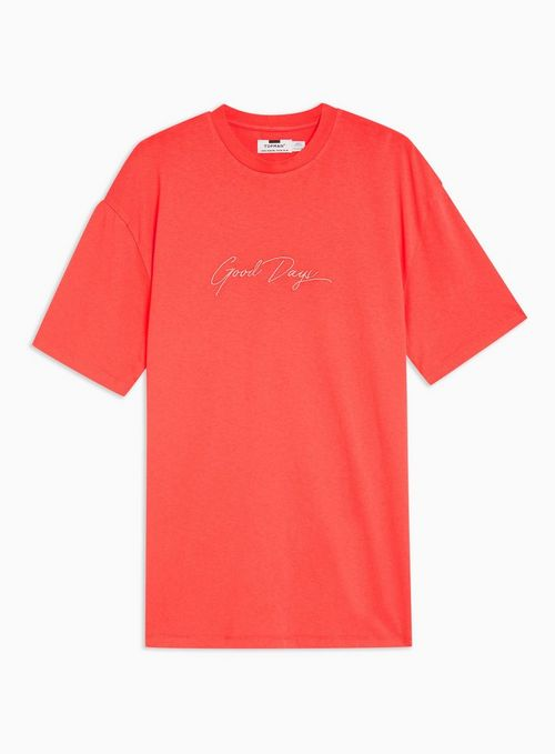 Orange 'Good Days' Embroidered T-Shirt - TOPMAN USA