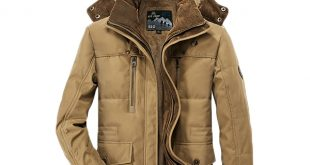 AFSJEEP Mens Thick Fleece Winter Coat Hooded Solid Color Jacket Plus