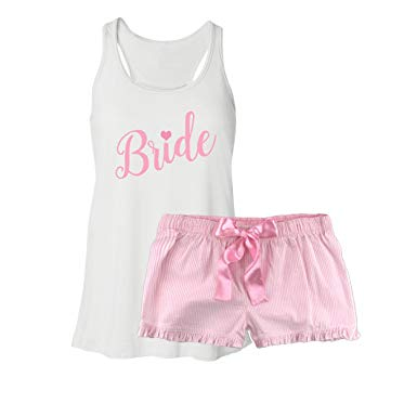 Classy Bride Bride Pajama Set - Pink at Amazon Women's Clothing store: