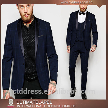 China Latest Design Fashion Blue Checks Men Wedding Coat Pant Suits