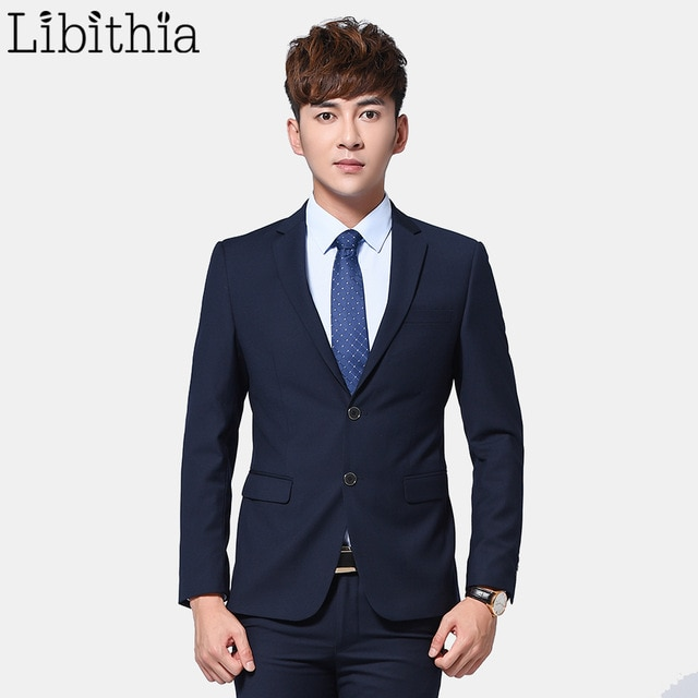 Men 2 Pieces Slim Fit Suits Jacket and Pant Suits Mens Formal Blazer