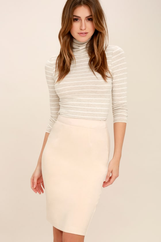 Chic Light Beige Skirt - Pencil Skirt -Vegan Suede Midi Skirt