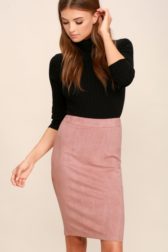 Blush Skirt - Pencil Skirt - Midi Skirt - Vegan Suede Skirt