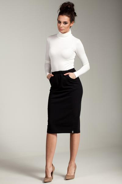 Black Pencil Skirt With Elasticized Waist And Side Pockets u2013 So Chic