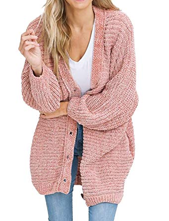 Plus Size Womens Cardigans Boyfriend Long Cable Knit Button Cardigan