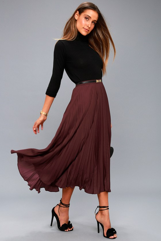 Chic Plum Purple Skirt - Pleated Skirt - Midi Skirt