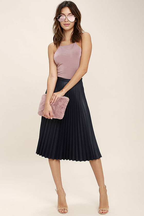 Navy Blue Skirt - Midi Skirt - High-Waisted Skirt - Pleated Skirt