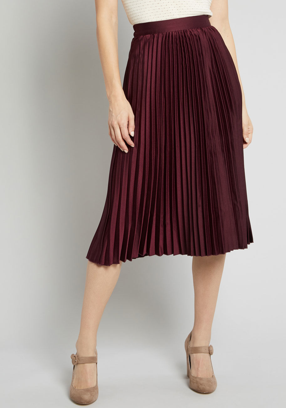 ModCloth Polished Pleated Midi Skirt in Burgundy Burgundy | ModCloth