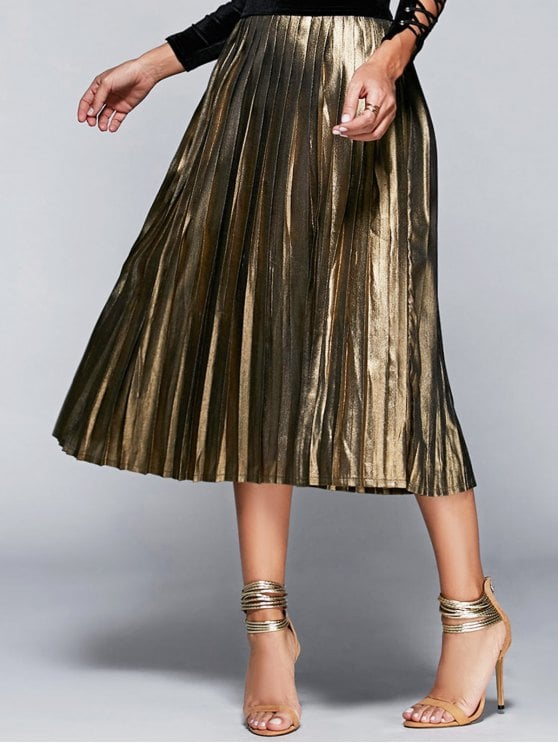 23% OFF] 2019 High Waisted Pleated Midi Skirt In CHAMPAGNE S | ZAFUL