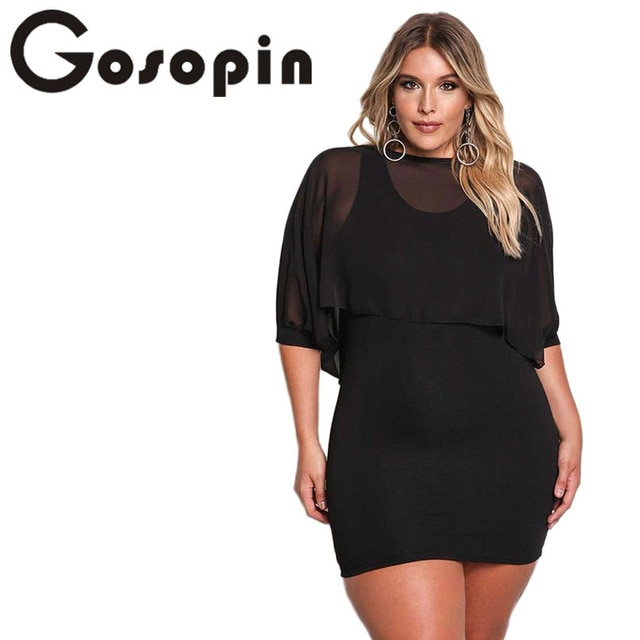 Gosopin Plus Size Party Bodycon Dresses Black XXL For Women Solid