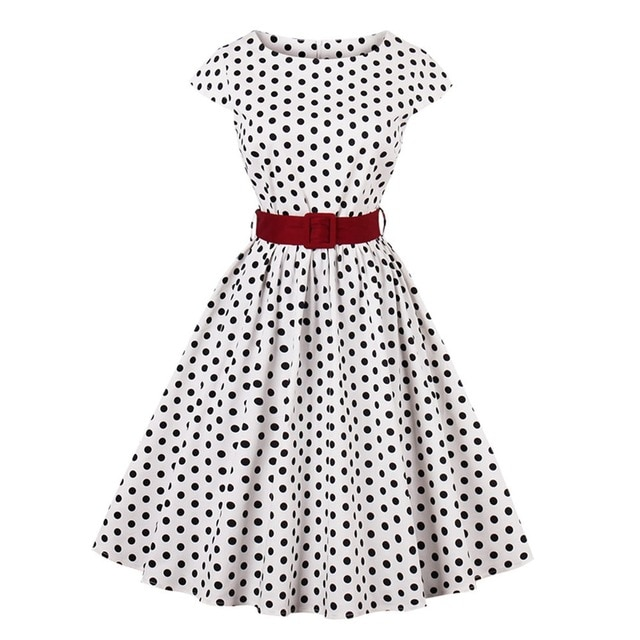 Retro 1950s 60s Dresses Vintage Swing Polka Dots Dress with Waist