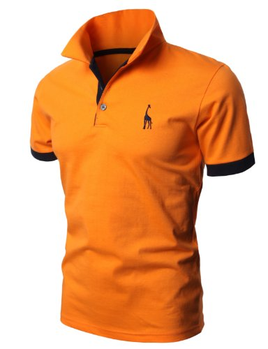 H2H Mens Casual Slim Fit Solid Giraffe Polo Shirts with Giraffe