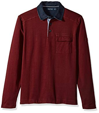 Nautica Men's Long Sleeve Heavy Weight Jersey Polo Shirt Chest