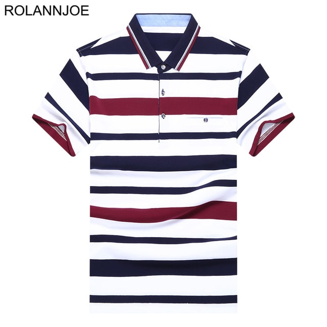 Chest pocket Tricolor Striped Polo Shirts Men Clothes 2018 Short