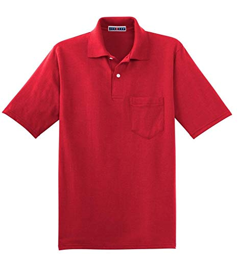 Jerzees Men's Five Point Left Chest Pocket Polo Shirt at Amazon