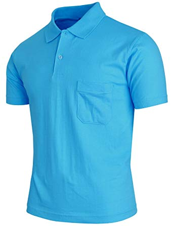 BCPOLO Men's Polo Shirt Short Sleeve 1 Chest Pocket Solid Cotton