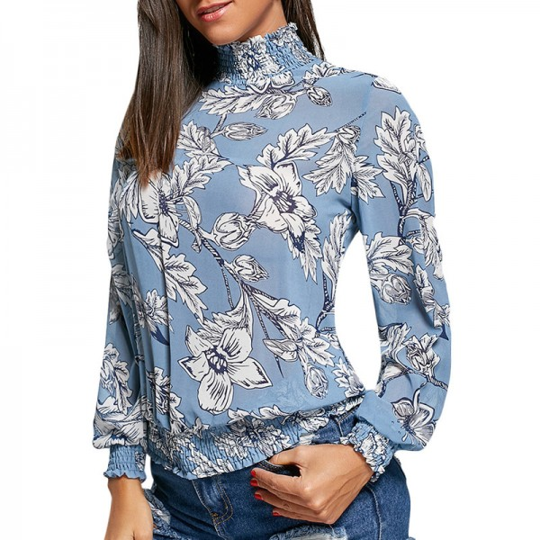 Women Floral Printed Blouses Spring Long Sleeve Elastic Mock Neck