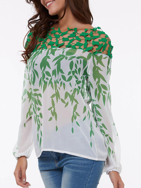 Boat Neck Hollow Out Printed Blouses - JustFashionNow.com