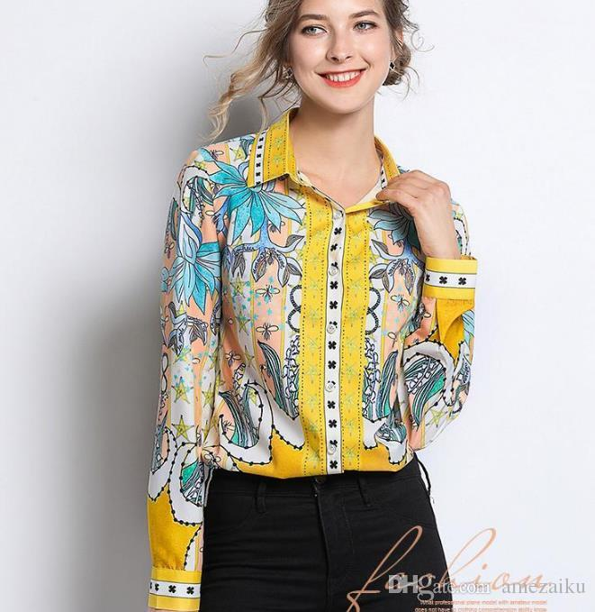 2019 Runway Women Blouse Chiffion Office Shirt Long Sleeve Printed