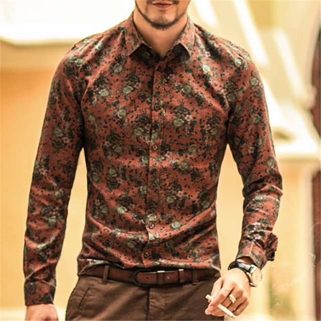 Men shirt Floral printing long sleeve shirts men clothes flowers