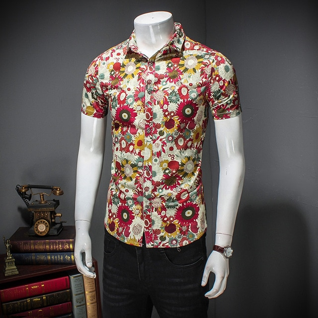MIXCUBIC 2018 summer College Style unique red Flower printed shirts