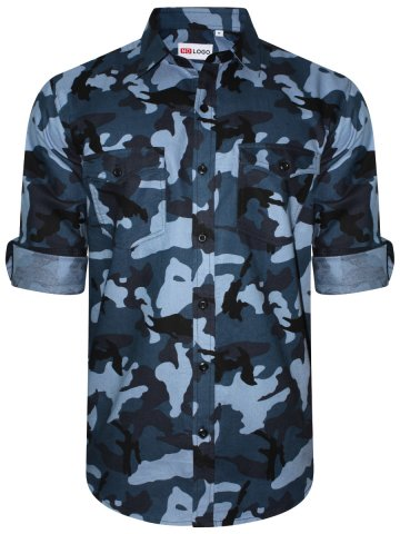 Nologo Pure Cotton Blue Camo Print Shirt | Nologo-cs-220 | Cilory.com