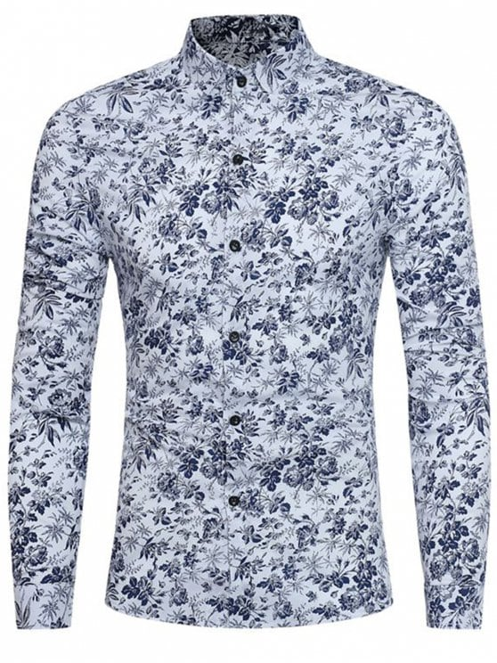 29% OFF] 2019 Long Sleeve Tiny Floral Printed Shirt In WHITE L | ZAFUL