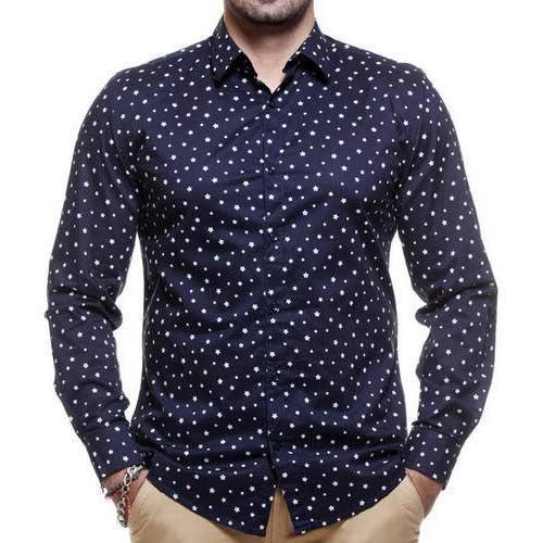 Blue Party Wear Men's Printed Shirt, Rs 500 /piece, Anupam Garments