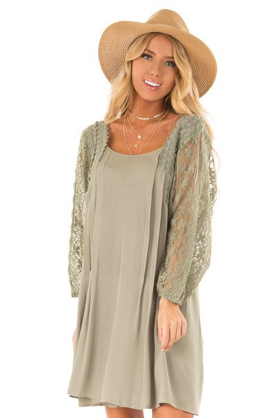Olive Loose Mini Dress with Long Sheer Lace Puff Sleeves - Lime Lush