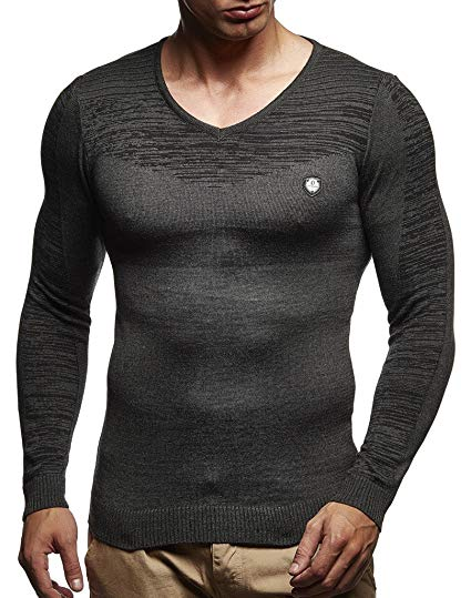 Amazon.com: LEIF NELSON Men's Hoodie Knitted Pullover Jumper Basic V