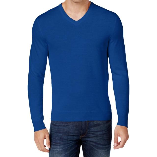 Club Room Mens Merino Wool Solid Pullover V-neck Sweater Large L