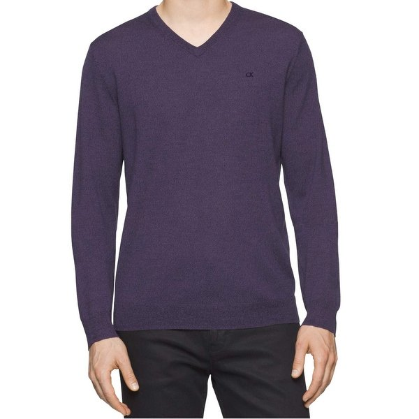 Shop Calvin Klein Mens Large Pullover V-Neck Wool Sweater - On Sale
