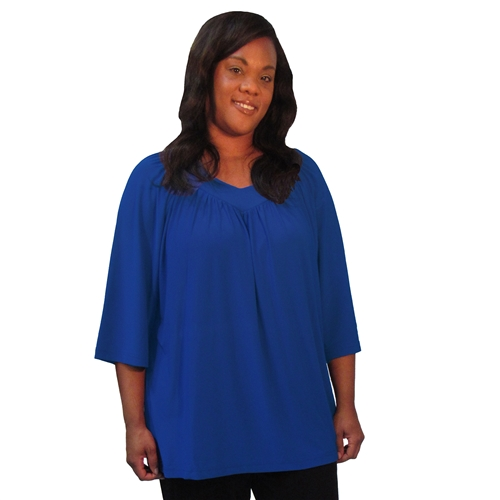 Woman's Plus Size blouse Cobalt 3/4 sleeve V-Neck Pullover Top by A