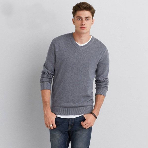Buy Mens Sweater Pullover Original Cotton V Neck Solid Color Casual