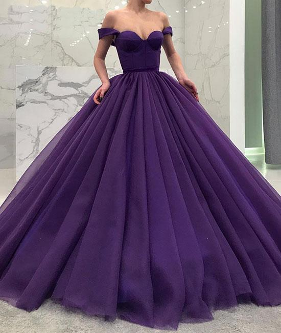 Princess Ball Gown Purple Off the Shoulder Long Prom/Evening Dresses