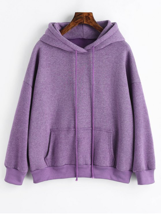 27% OFF] 2019 Sporty Pocket Fleece Hoodie In PURPLE L | ZAFUL