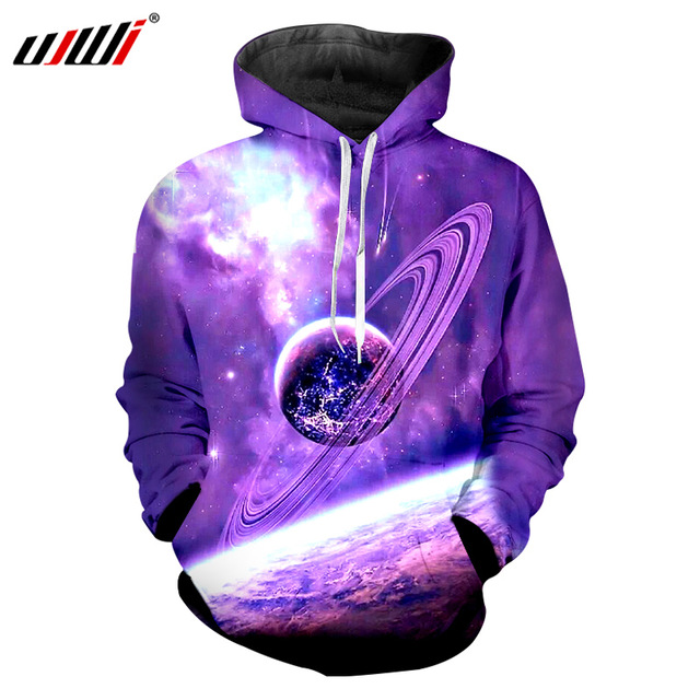 UJWI Hoodies Purple Space Galaxy Sweatshirt 3D Hoodie Men Hip Hop