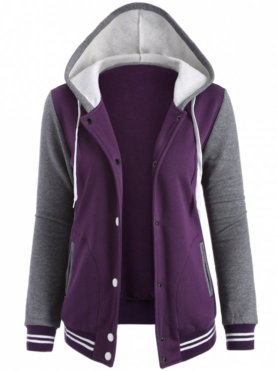 35% OFF] 2019 Varsity Baseball Fleece Hoodie Jacket In PURPLE M | ZAFUL