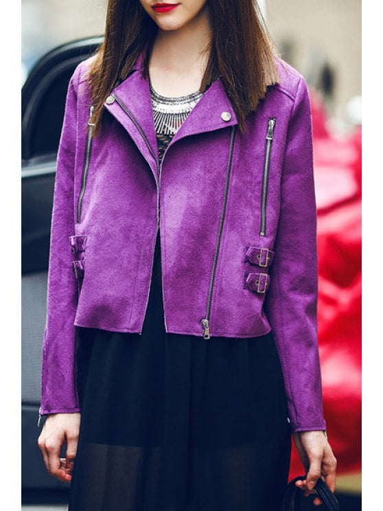 30% OFF] 2019 Zippered Purple Suede Jacket In PURPLE XL | ZAFUL