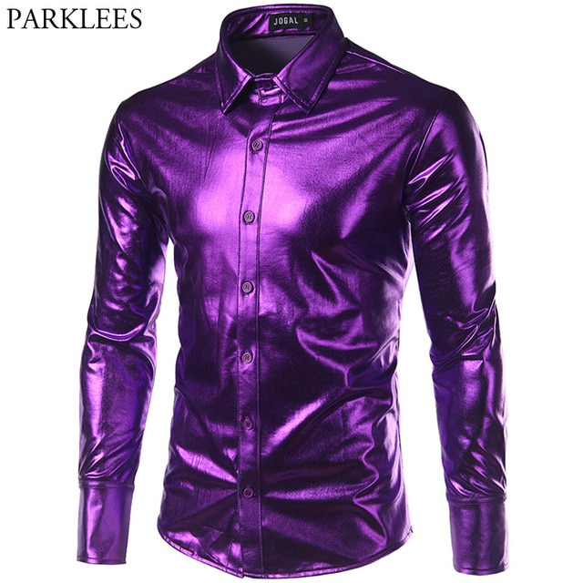 Purple Coated Metallic Night Club Wear Shirt Men Long Sleeve