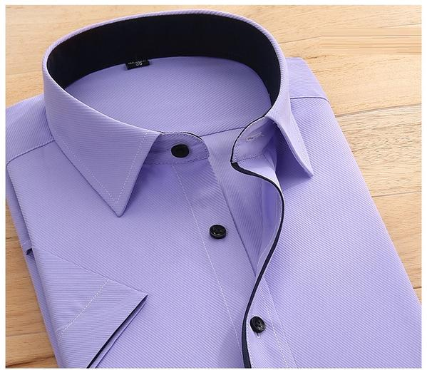 His Fashion Purple Short Sleeve Business Casual Men Dress Shirt