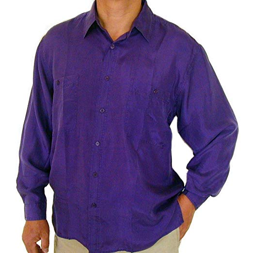 Surprise Men's 100% Silk Shirts (Purple) at Amazon Men's Clothing store: