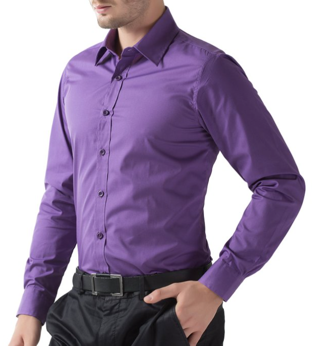 PAUL JONES Purple Mens Casual Slim Dress Shirts | Blingby