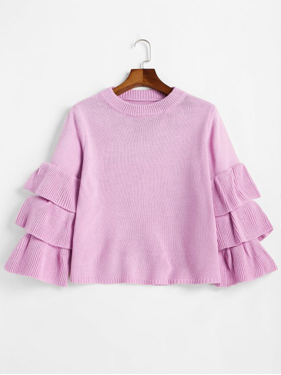 57% OFF] 2019 Flouncy Layered Sleeve Pullover Sweater In LIGHT