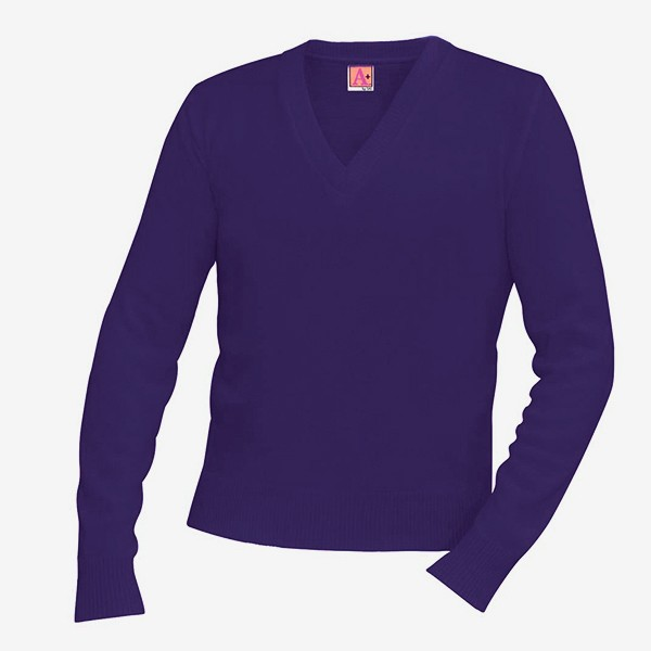 V-neck Pullover Sweater Purple - School Uniforms, Educational Toys