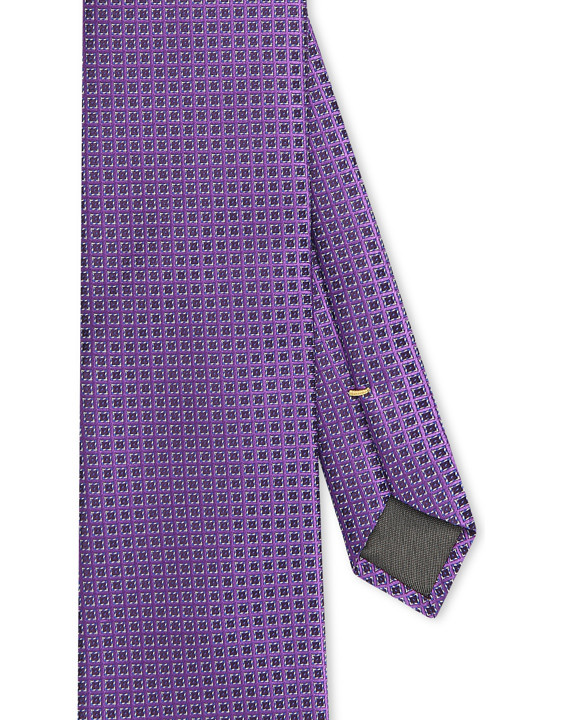 Purple tie with pattern in pure silk, Made in Italy. Check out the