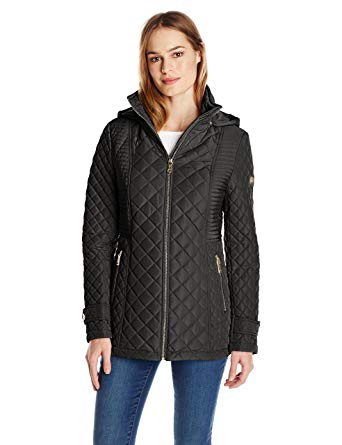 Calvin Klein Women's Quilted Jacket with Hood, Black, X-Small at