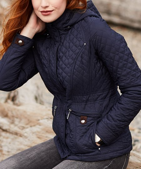 Weatherproof Dark Night Hooded Quilted Jacket - Women & Plus | Zulily