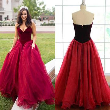 $163.99 Long Sexy Red Ball Gown V-Neck Sleeveless Zipper Prom